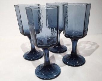 Blue Wine Glasses, Libbey Blue Octagonal Crinkle Wine Glasses Set of 4