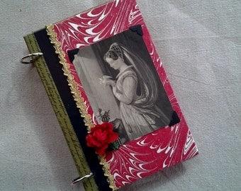 Vintage Book Journal Scrapbook Rose Red