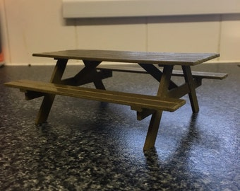 "3D printed 1/12 (1"") scale Dollshouse Picnic Bench Real Wood"