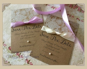 10 x handmade rustic vintage elegant Save The Date with lace and ribbon