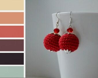 Red Crochet Round Earrings