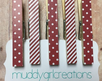 Decorative Clothespin Magnets - Set of 5 - Dark Red and White Striped & Polka Dot - Refrigerator Magnets, Photo Clips, Stocking Stuffer