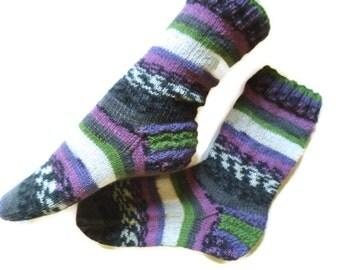 Knitted womens socks, ankle socks, handmade socks, gift socks, purple, green, grey socks, art socks, striped socks, boot socks, woolen socks