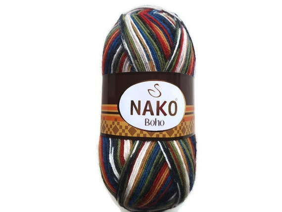 "Sock  yarn, Superwash Sock Yarn ""Nako"", Boho yarn, Destash yarn, Fancy yarn, Wool Yarn Destash, Variegated Sock Yarn"