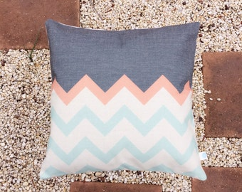 The Zigz | Pastel and Black Zig Zag | Black, Green, Pink Chevron Pattern | Modern Retro Cushion Cover | Decorative Pillow Cover
