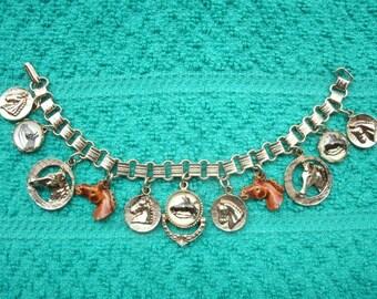 Vintage Equestrian Charm Bracelet Convex Glass Intaglio Horse Profiles Gold Tone