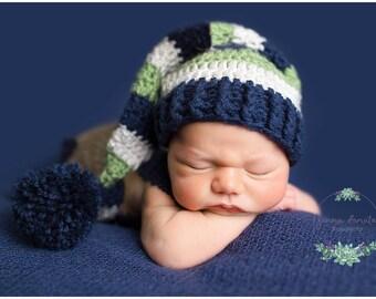 Newborn Elf Hat, Crochet Sleepy Cap, Long Tailed Hat, Striped Elf Hat, Baby Elf Hat, Baby Boy Crochet Hat, Stocking Cap, MADE 2 ORDER