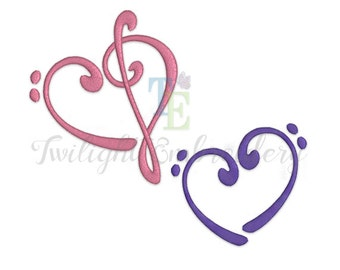 Set of 2 Music Machine Embroidery Designs, Bass Clef Heart Machine Embroidery Design, Treble Clef Heart Machine Embroidery Design 0013