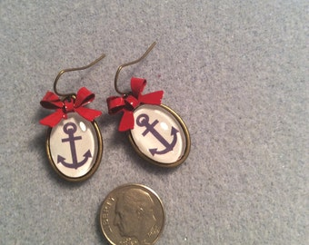 Blue Anchor cabochon with Red Bow