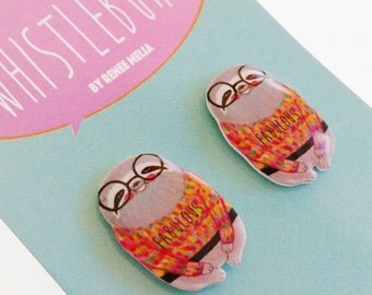 Sloth earrings // sloth in a sweater // statement earrings // shrink plastic jewelry // quirky jewelry // gift for her