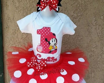Handmade red minnie mouse tutu set