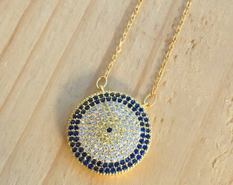 Large Lucky Evil Eye Necklaces 925 / Sterling Silver