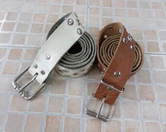 2 vintage studded leather belt AR534