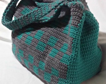 Crochet Tote Bag, Teal and Grey Tote, Large Tote, Checkerboard Tote, Made to Order