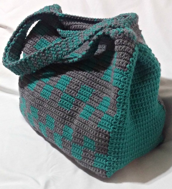 PATTERN: Crochet Tote Bag Pattern, Teal and Grey Tote, Large Tote ...