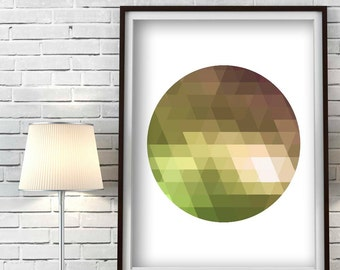 Green Circle Printable Wall Art Olive Green Art Living Room Decor Scandinavian Geometric folk art Bedroom Print Circle Print Crystal Artwork