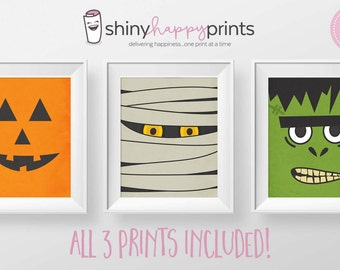 SET OF 3 Halloween Monster Pack, Frankenstein, Jack O Lantern & Mummy Digital Prints, 8x10 Trick or Treat Art Decor, Shiny Happy Prints