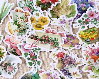 Handmade planner Luggage stickers - Flowers