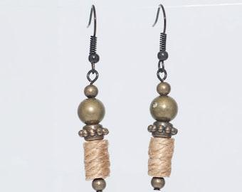Earrings - olive green/bronze/rope weave/black