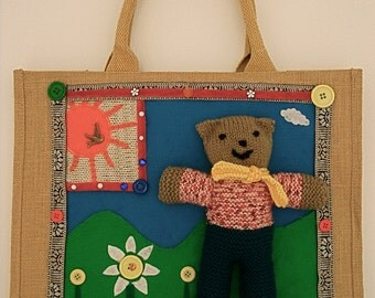 Childrens christmas gifts,large shopping bag,nursery storage,baby shower,unique bags,hand knitted toy,teddy bear,ladies occasion handbags