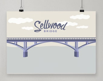 Sellwood Bridge / Illustrated Print / Portland, Oregon Design
