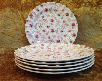 "Set of six ROSEBUD CHINTZ 9"" Luncheon plates discontinued pink rose bud yellow flowers scalloped England Copeland Spode china vintage"