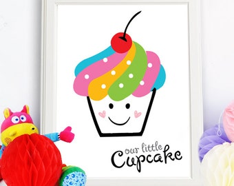 Our Little Cupcake, Cupcake Poster, Pink cupcake, Printable Art, Nursery Print, Instant Download, Wall Decor
