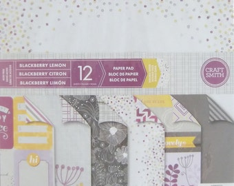 "Craft Smith BLACKBERRY LEMON Paper Pad 12 DOUBLESIDED Sheets 12"" x 12"" Scrapbook"