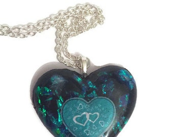 Dichroic Style Resin Heart Necklace