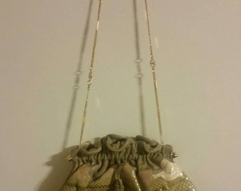 Stunning Vintage Carlo Fiori Leather & Reptile Handbag with Gold Chain