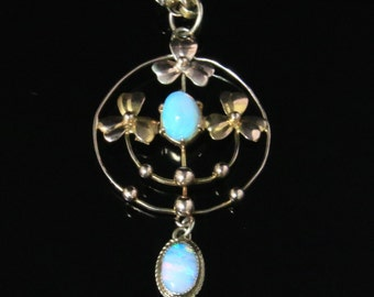 Antique Victorian Opal Pendant & Chain – 9ct Gold Circa 1880