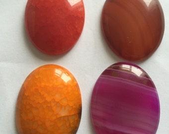 Set of 4 flat back pebble shape crystal