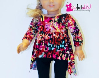 American made Girl Doll Clothes, 18 inch Doll Clothing, Multi-Colored Impressionistic Twirly Tunic and Black Leggings