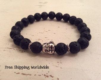 Mala Bracelet, Tribal bracelet, Lava Mala Bracelet , Energy Bracelet, Mens Bracelet, Wrist Bracelet, Buddhist Meditation Bracelet,  Reiki