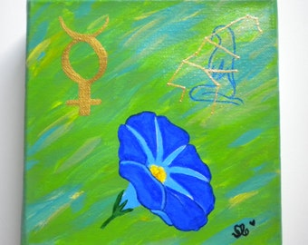 VIRGO painting with Element, planet, birth flower & constellation
