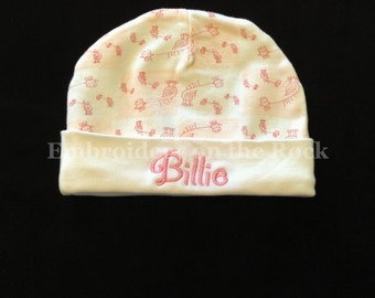 Baby hat with name, baby beanie hat, Personalized baby hat, embroidered baby hat. Free shipping when added on another order.