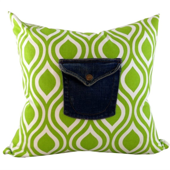 Bright Green Ikat Pillow Cover , Shabby Chic Pillow, Denim Pillow, 16 x 16, 18 x 18, 20 x 20