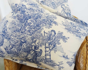Toile de Jouy Cushion, Toile de Jouy Fabric, Blue and white cushion, country vintage style fabric, decorative toile de jouy pillow,