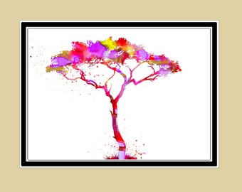 Tree, watercolor tree, watercolor  print (1733)