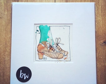 Tan Brogues Green Tights original illustration