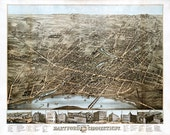 Hartford, Connecticut (CT.) 1877.  O.H. Bailey & Co.  Vintage restoration hardware home Deco Style old wall reproduction map print.