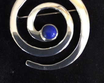 Lapis and Sterling Silver Brooch