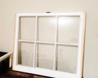 Wood window pane picture frame -Wood window picture frame 6 pane vintage as is, window pane, window frame 32x28