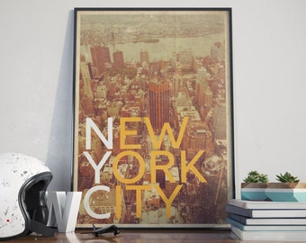 New York City Grunge Premium Poster - Instant Download