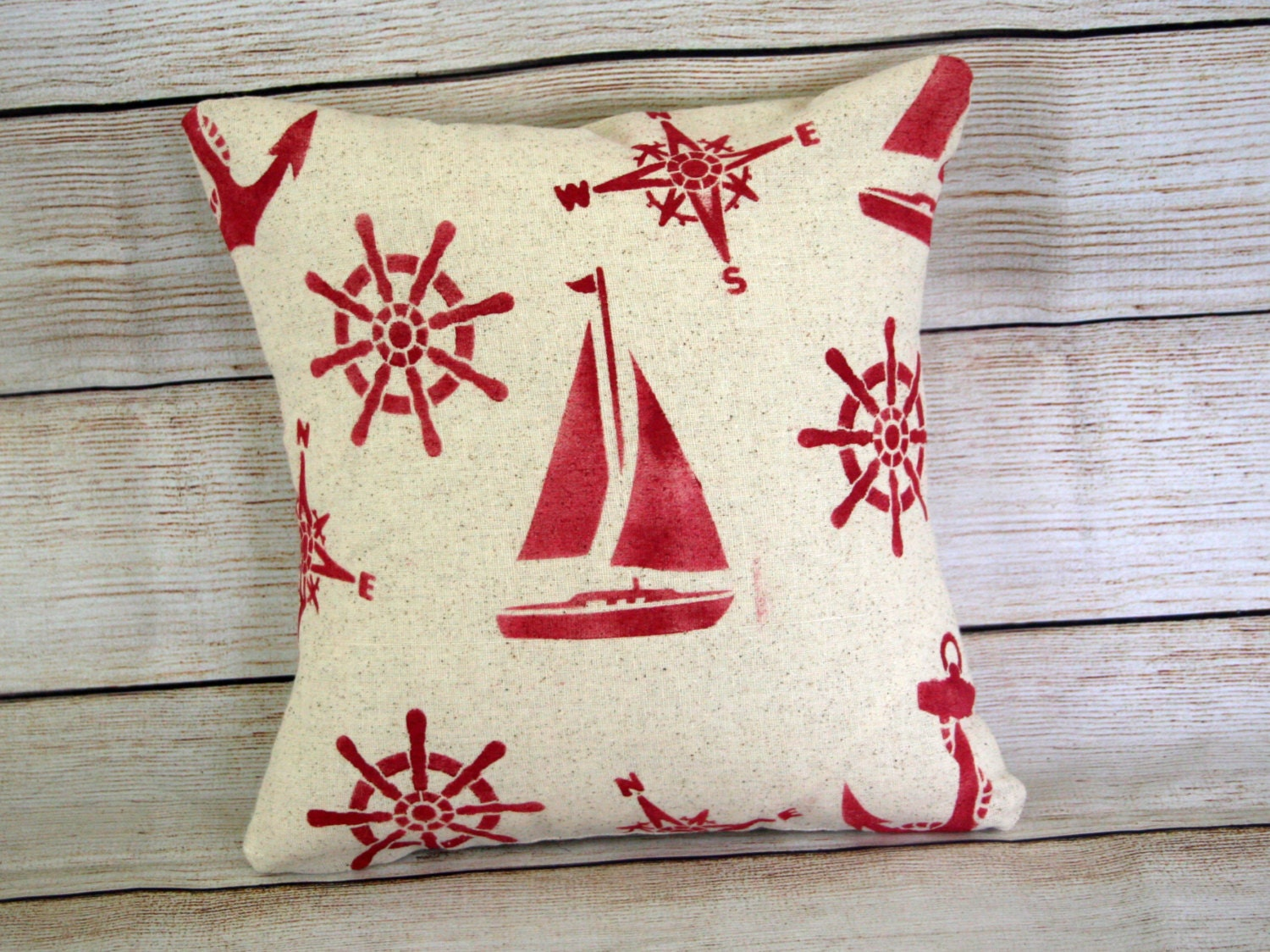 Red Throw Pillows Etsy : Nautical Throw Pillow Red by BoxwoodBoutique on Etsy