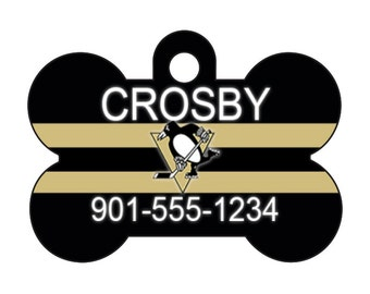Pittsburgh Penguins Personalized Dog Tag Pet Id Tag w/ Your Pet's Name and Number