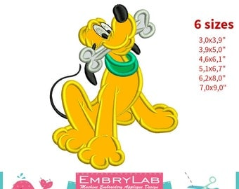 Applique Pluto Dog. Mickey Mouse and Friends. Machine Embroidery Applique Design. Instant Digital Download (16264)