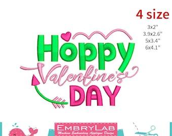 Machine Embroidery Applique Design Valentin Lettering Hoppy Valentines Day (16094)