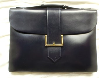 Handbag leather box made in France vintage - calf-Navy blue box - navy blue