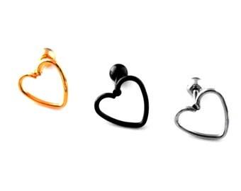 Heart Tragus Daith Barbell Ear Cartilage Piercing Bar Mixed Colours 16g 8mm Heart